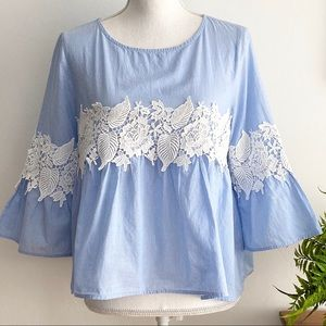 Forever 21 Blue Stripe Bell Sleeve Lace To…